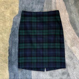 J. Crew Plaid Wool Pencil Skirt
